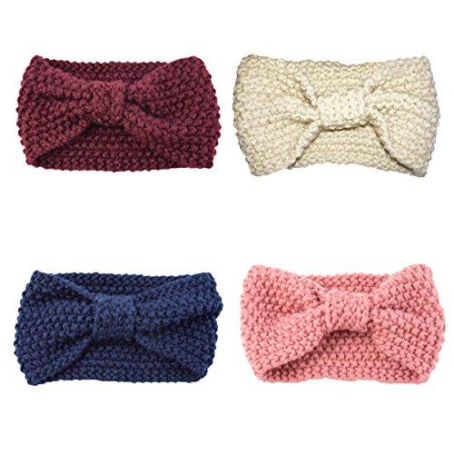 Damen Stirnband Strick Häkelarbeit Schleife Design Winter Kuschelig Haarband (4 Stück(Fuchsie+Beige+Blau+Rosa))