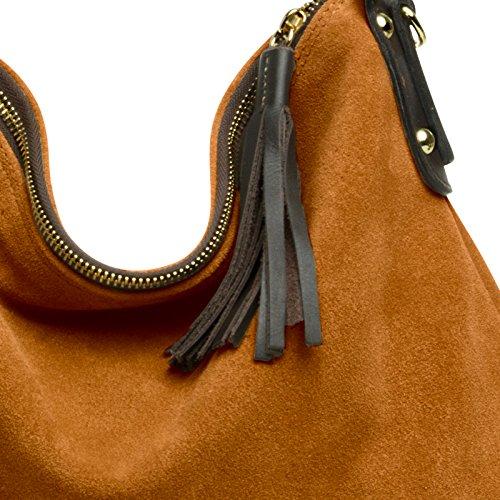 CASPAR Fashion, Borsa a spalla donna taglia unica cognac