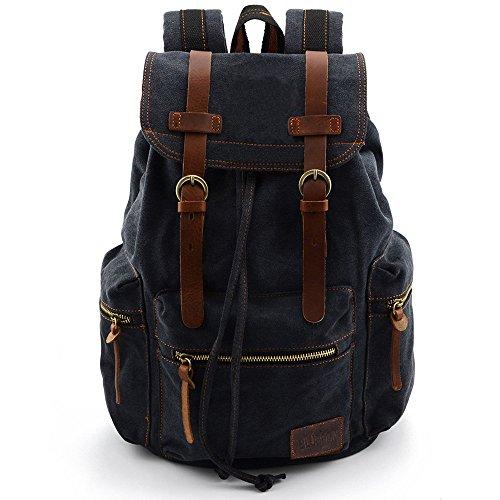 BLUBOON Vintage Mochilas de Lona para Hombre/Mujer Casual Backpack Canvas Rucksack (Negro)