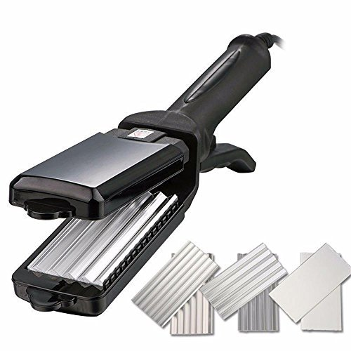 Wangmeili 3 Plate Hair Crimper and Straightener Flat iron Fluffy Wavers Curler Corrugated Iron Adjustable Temperature Styling Tools