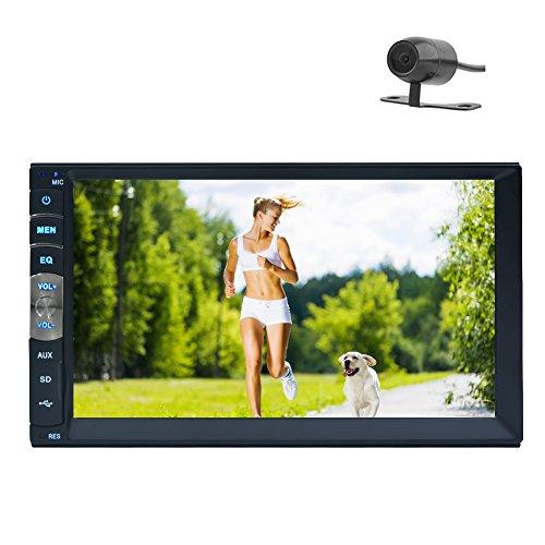 Stereo con Bluetooth 7 pollici universali 2 Din HD Radio FM MP5 Player USB SD ingresso AUX Car Receiver dello schermo di tocco del precipitare Audio + Backup Camera + specchio di collegamento per i telefoni GPS Android