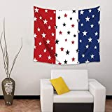 BAOQIN 60 * 80 Inches Unique Design Wonderful Prints Wall Hanging Tapestry Red White and Blue Stars Wall Art Home Decor Throw Tapestries for Bedroom Living Room Dorm