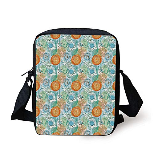 LULABE Floral,Funky Composition with Abstract Flower Motifs Swirls Lines Petals Doodle,Pale Blue Green Orange Print Kids Crossbody Messenger Bag Purse - Funky Flower Handtasche
