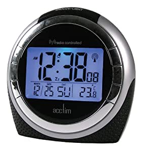 acctim 71267 zenith alarm clock black kitchen home. Black Bedroom Furniture Sets. Home Design Ideas