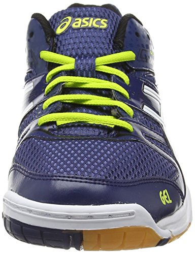 Asics Gel-rocket 7, Chaussures de Volleyball Homme Bleu (navy/white/lime 5001)