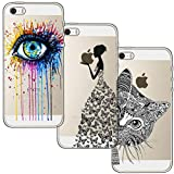 [3 Stück] iPhone 5 Hülle, iPhone 5S Hülle, iPhone SE Hülle, Blossom01 Cute Funny Kreative Cartoon Transparent Silikon Bumper für iPhone 5 / 5S / SE - Eye & Butterfly Mädchen & Katze