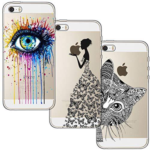 [3 Stück] iPhone 5 Hülle, iPhone 5S Hülle, iPhone SE Hülle, Blossom01 Cute Funny Kreative Cartoon Transparent Silikon Bumper für iPhone 5 / 5S / SE - Eye & Butterfly Mädchen & Katze Iphone 5 Tier
