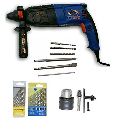 TOOLS CENTRE POWERFUL 2-26MM ROTARY HAMMER DRILL MACHINE 26MM SDS PLUS WITH 3 MODES & A CARRY CASE + 3 PCS HAMMER DRILL BITS & 2 PCS CHISELS + CHUCK & ADAPTER & FREE DRILL BIT SET FOR DRILLING INTO PL -
