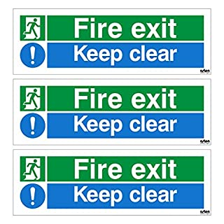 3 x Fire exit Keep clear signs. Each sign is 300mm x 100mm (Pack of 3) (Self Adhesive Sticker)