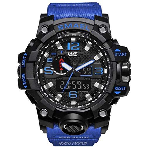 Werse Herren Sportuhr Military Sports Watch 50M Wasserdichte Uhren für Männer Gummi - Balck und Dunkelblau