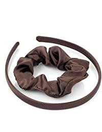 Girls School Satin head band and hair scrunchie set (Brown)