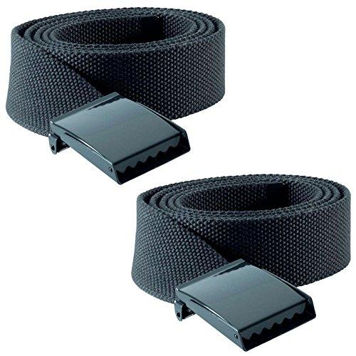 2 x Cinturón Pantalón de Trabajo + Hebilla de Metallica - Largo ajustable desde XS - 3XL - Se puede cortar el exceso. Sin evilla - Hombre y Mujer [ Unisex ] Canvas Belts (Gris Oscuro)