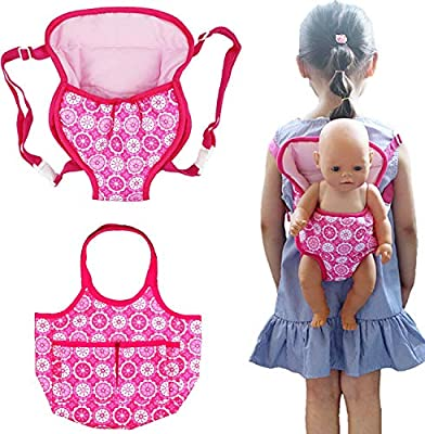 ebuddy 2 Pack Baby Doll Carrier Doll Backpack Carrier Doll Tote Bag Doll Accessories Fits 15 to 18 inch Dolls