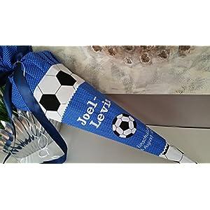 #111 Fussball blau Schultüte Stoff + Papprohling + als Kissen verwendbar