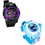 Shanti Enterprises Combo Frozen Princess 24 Images Projector Watch And Sports Watch Multi Color Dial For Kids - B0757369CF