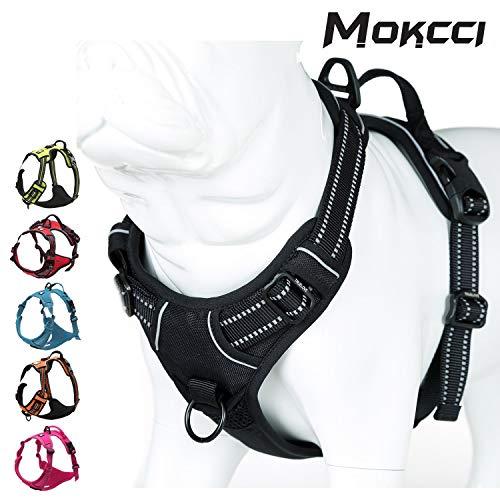MOKCCI Hundegeschirr, weich, reflektierend, kein Ziehen, mit Griff und Zwei Leinenbefestigungen