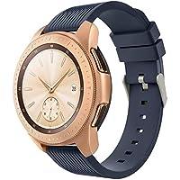 Simpleas compatibel met Galaxy Watch 42mm / Active / Active2 Horlogeband, Soft Silicone Classic Sport vervangende Horlogeband, 20mm-L, Middernacht Blauw