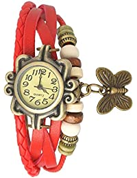 Style Keepers 2017 New Collection Butterfly Dori Festive Season Special Analog Dial Red Leather Dori Strap Party...