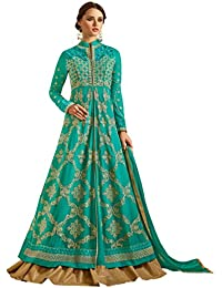 Teal Colour Embroidery Georgette Semi_stitched Anarkali Party-wear-salwar-kameez