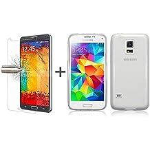 TBOC® Pack: Funda de Gel TPU Transparente + Protector Pantalla Vidrio Templado para Samsung Galaxy S5 Mini. Funda de Silicona Ultrafina y Flexible. Protector de pantalla Resistente a Golpes, Caídas y Arañazos.