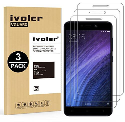iVoler [3 Unidades] Protector de Pantalla para Xiaomi Redmi 4A, Cristal Vidrio Templado Premium