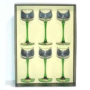 cristal de paris coffret 6 verres a vin du rhin uni jambe verte cristal de paris 11934. Black Bedroom Furniture Sets. Home Design Ideas