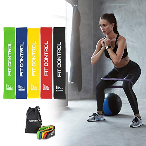 Elastici fitness fitcontrol bande elastiche resistenza set di 5 bande esercizi fasce elastiche - loop resistance bands attrezzatura allenamento gambe glutei
