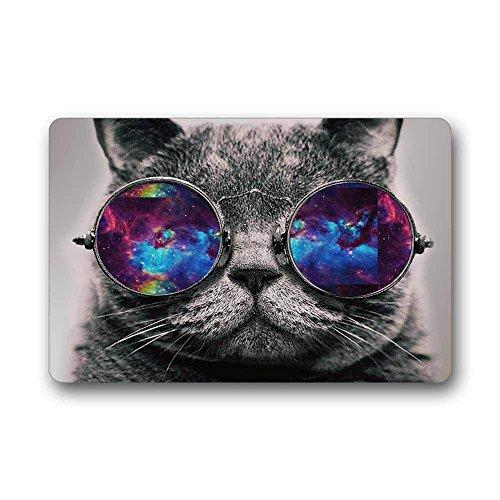 Jiayou J Custom Grumpy cat Wear Glasses Machine Washable Top Fabric Non-Slip Rubber Indoor Outdoor Home Office Bathroom Doormat Size 23.6x15.7