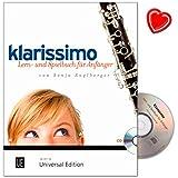 Klarissimo - Lern- und Spielbuch für Anfänger auf der Klarinette von Sonja Anglberger - Notenbuch mit CD und mit bunter herzförmiger Notenklammer