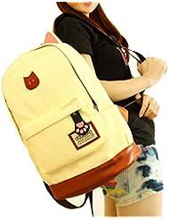 Malloom Las mujeres Campus chicas viaje joven Gato oído mochila bolsos deportivos mochilas