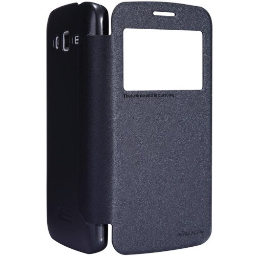 Nillkin Bumper Back Case Cover with Sparkle Leather Flip Stand for Samsung Galaxy Grand 2 G7106 (Black)