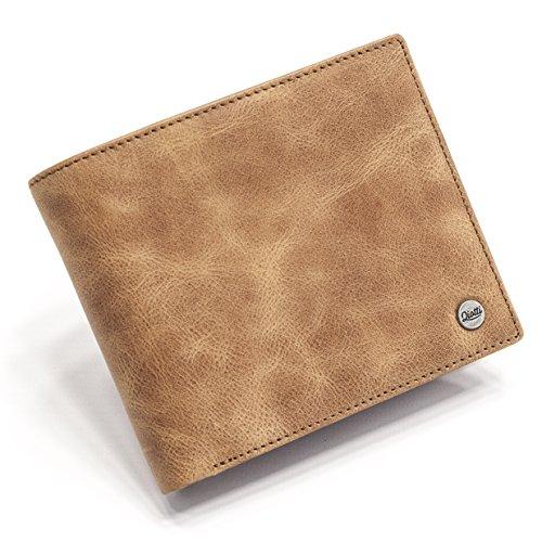 QIOTTI ® Leder Geldbeutel aus Echtleder mit Münzfach I RFID Schutz I Geldbörse I 10 Kartenfächer I Portemonnaie Lederbörse Brieftasche Querformat (Brown) -
