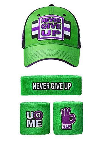 Freeze John Cena WWE Never Give Up grün lila Baseballkappe Stirnband Armband Satz (Armbänder Cena John)