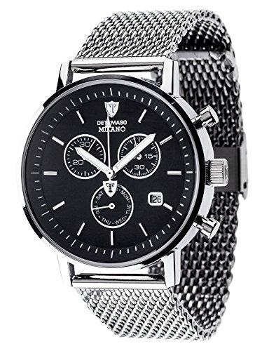 DETOMASO MILANO Herren-Armbanduhr Chronograph Analog Quarz silbernes Edelstahl Milanaise-Armband schwarzes Zifferblatt DT1052-L