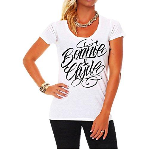 *WUNSCHZAHL Mädels Shirt Bonnie & Clyde BLACK (Rückendruck mit Wunschzahl)*
