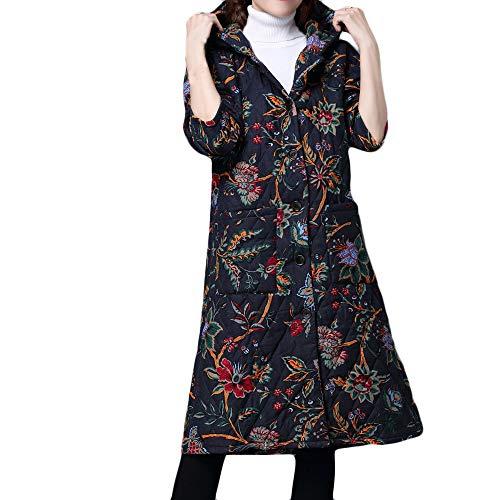 BHYDRY Abrigo de Invierno de Talla Grande para Mujer Folk-Custom Chaqueta de algodón Acolchado Puffer Largo Parka