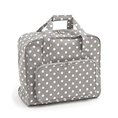 Hobbygift Value Collection: Nähmaschine Beutel: Matt PVC: Grau Leinen Polka Dot, Baumwolle, Assorted, 20 x 43 x 37 cm