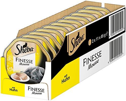 Sheba Finesse Mousse, Cremiges Huhn, Katzenfutter in köstlichen Geschmacksrichtungen -