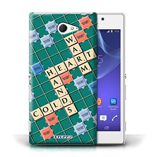 Kobalt® Imprimé Etui / Coque pour Sony Xperia M2 / Douce Vengeance conception / Série Mots de Scrabble Coeur Chaud