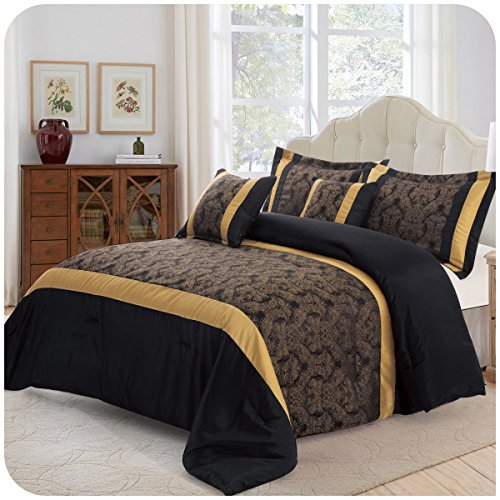 Supreme Betten Opulence Betten Set 3Stück Tagesdecke gesteppt Bettwäsche-Set Tröster mit passendem Kissen Schande, Jaquard-Gewebe, schwarz / gold, Double (220 x 230 CM)