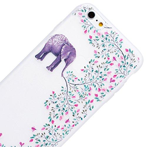 Yokata iPhone SE / iPhone 5 / iPhone 5s Hülle Transparent Weiche Silikon Handyhülle Schutzhülle TPU Handy Tasche Schale Etui Weich Silicone Durchsichtig Bumper Ultra Dünn Slim Schlank Handytasche Prem Elefanten und Blumen