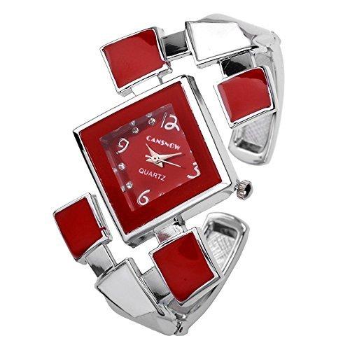 JSDDE Damen-Armreif mit analoger Uhr, Silber mit rotem Ziffernblatt