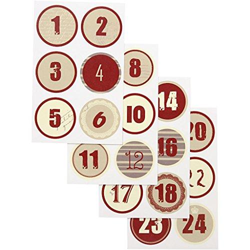 Adventskalender Zahlen 28507 Copenhagen Vivi Gade Design - 24 matte weihnachtliche Vintage Sticker zur Adventsdeko. D: 4 cm, Blatt 9x14 cm, 4 Blätter.