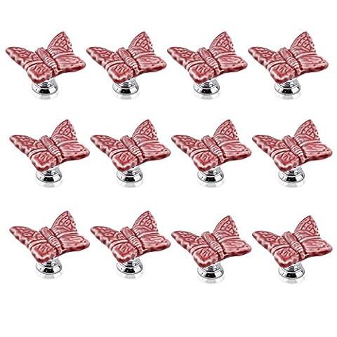 FBSHOP(TM) 12PCS Pink Cute Butterfly Porcelain Ceramic Door Knobs/Pull/Handle for Kitchen Cabinet Drawer Cupboard Chest ,Vintage Dresser,Wardrobe & Baby Kid's Children's Furniture Decor