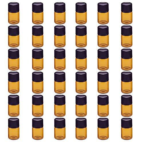 Bernstein-essenz-Öle (Haodou 36 stücke 2 ml Bernstein Glas Fläschchen Nachfüllbare Leere Glas Ätherisches Öl Flasche mit Öffnung Minderer Schwarz Kunststoff Kappe)