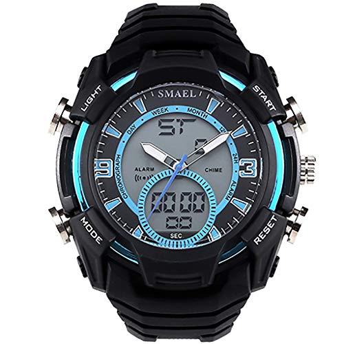 REALIKE Unisex Herren Digitale Armbanduhr, Outdoor Laufen wasserdichte Doppelanzeige Uhren, Cool Sport große Anzeige LED Sportuhr mit Wecker für Herren Zeiger Kalender Erwachsene Smart Watch (Vintage Orient Kalender-uhr)