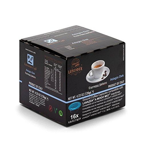 LUSCIOUX Kapseln Adagio Dek - 192 Lavazza A Modo Mio* kompatible Kaffee-Kapseln (12 x 16 Kapseln)