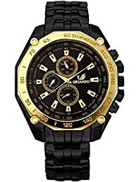Orlando® Branded Chronograph Look With Black Dial, Black & Gold Plated Metal Belt Watches For Men - W1215BBXXZ