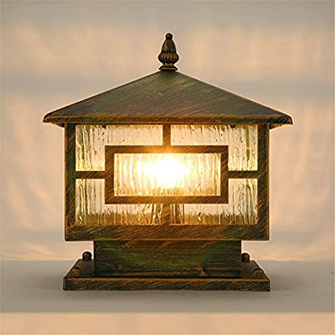 Larsure Vintage Industrial Style Wall Sconce Wall Light Lamp Stern lights square outdoor waterproof fence post post light retro rain outdoor door lawn lamp courtyard, 250 * 350 * 310mm
