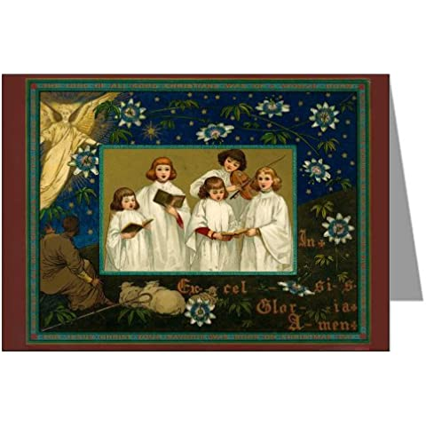 Vintage Original prangs festività biglietti di Natale, Set Coro Cantiamo, decorata con biglietti di auguri Box per bambini